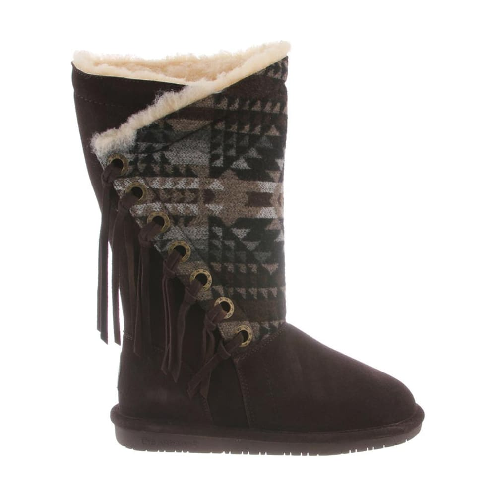 BEARPAW Women's Kathy Aztec Fringe Boots - CHOCOLATE/BLK -235
