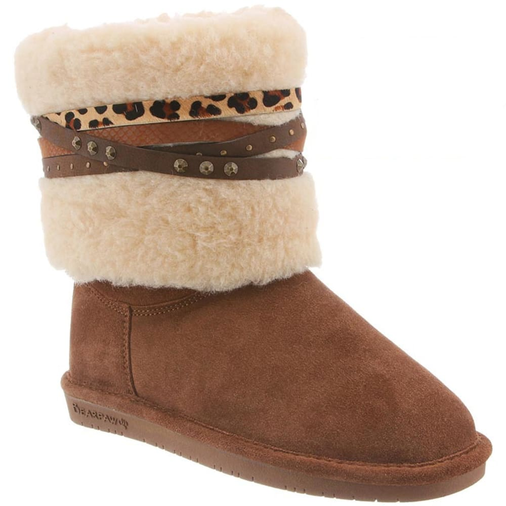 BEARPAW Women's Dominique Mixed Strap Boots - HICKORY-220