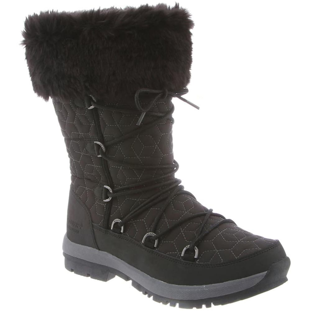 BEARPAW Women's Leslie Faux Fur Boots - BLACK NYLON-011