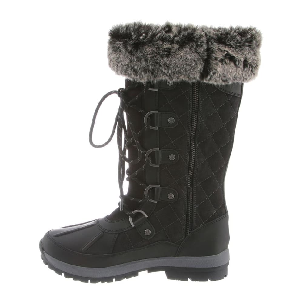 BEARPAW Women's Gwyneth Tall Fur Waterproof Boots - BLACK/GRAY-012