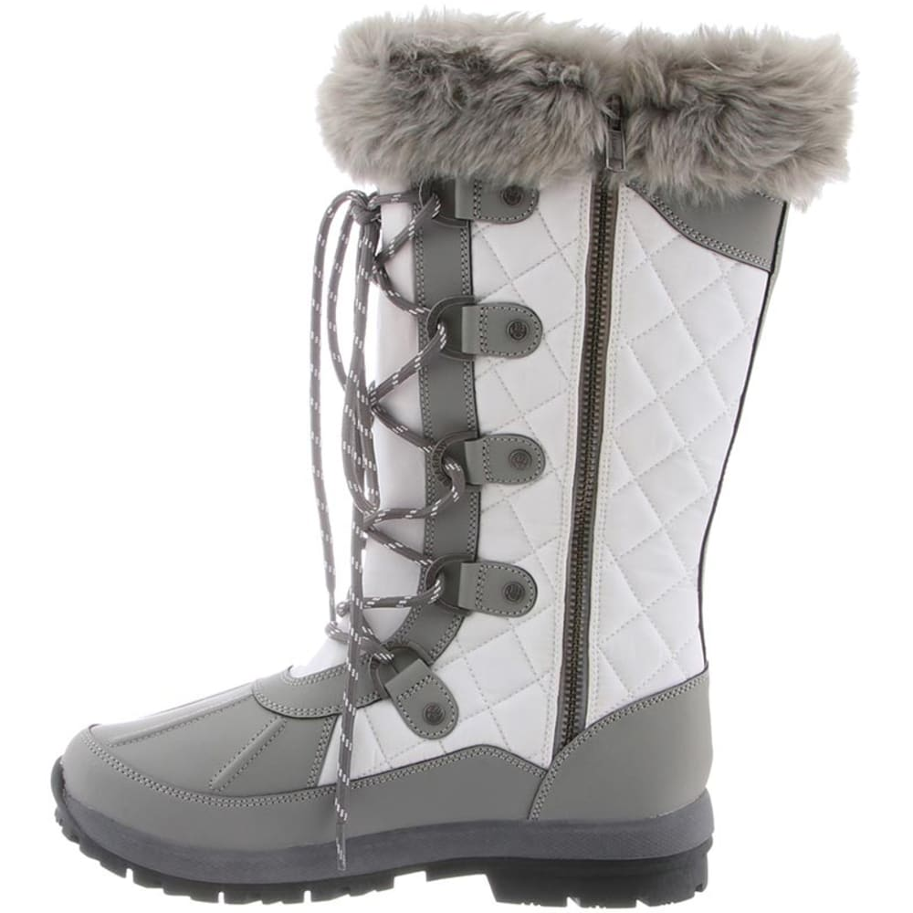 BEARPAW Women's Quinevere Tall Lace Up Waterproof Boots - GRAY/WHITE-057