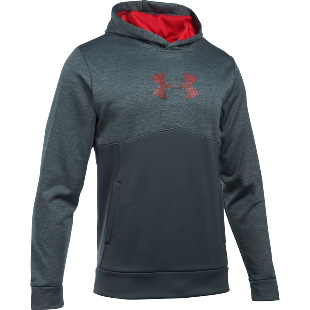UNDER ARMOUR Men's Storm Armour Fleece Logo Twist Hoodie - STEALTH GRAY/RED-008