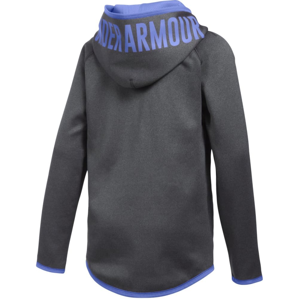 UNDER ARMOUR Girls' Armour Fleece Jumbo Logo Hoodie - GRY HTHR/VIOLET 090