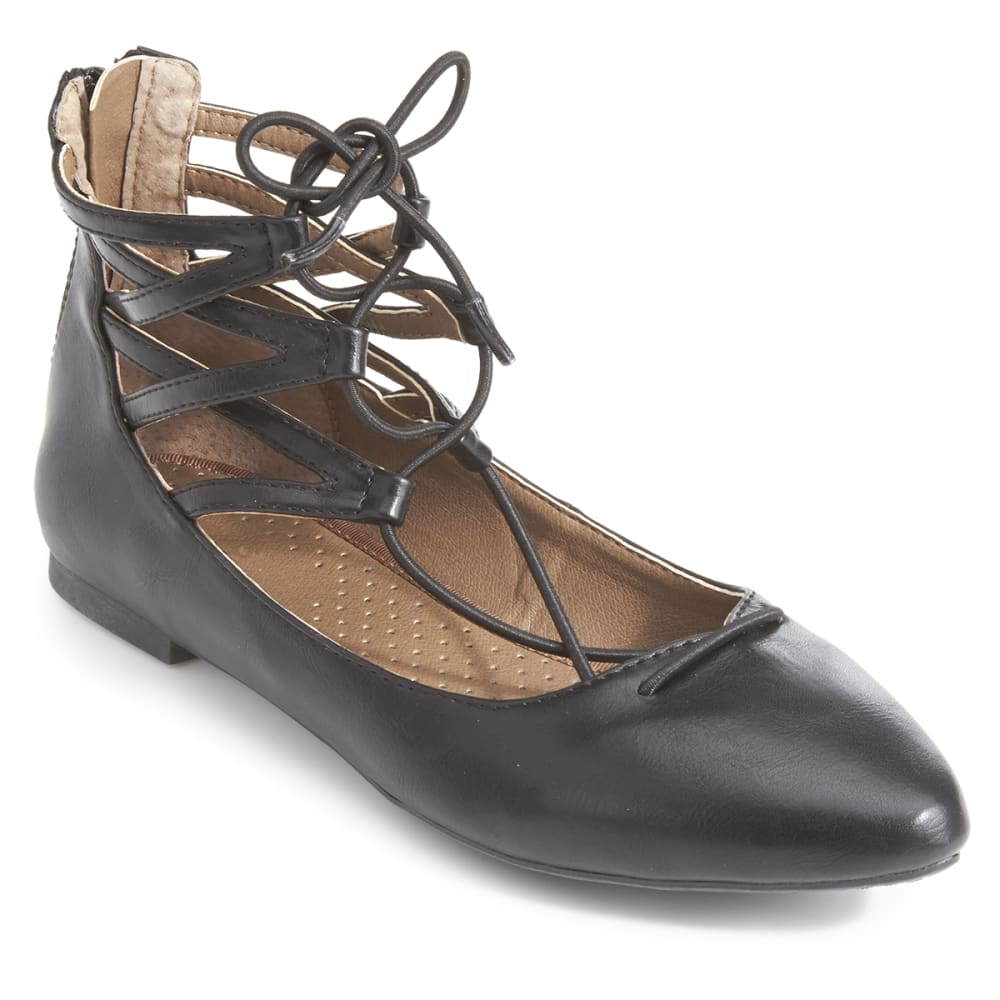 RIALTO Women's Sondra Lace-Up Flats - BLACK