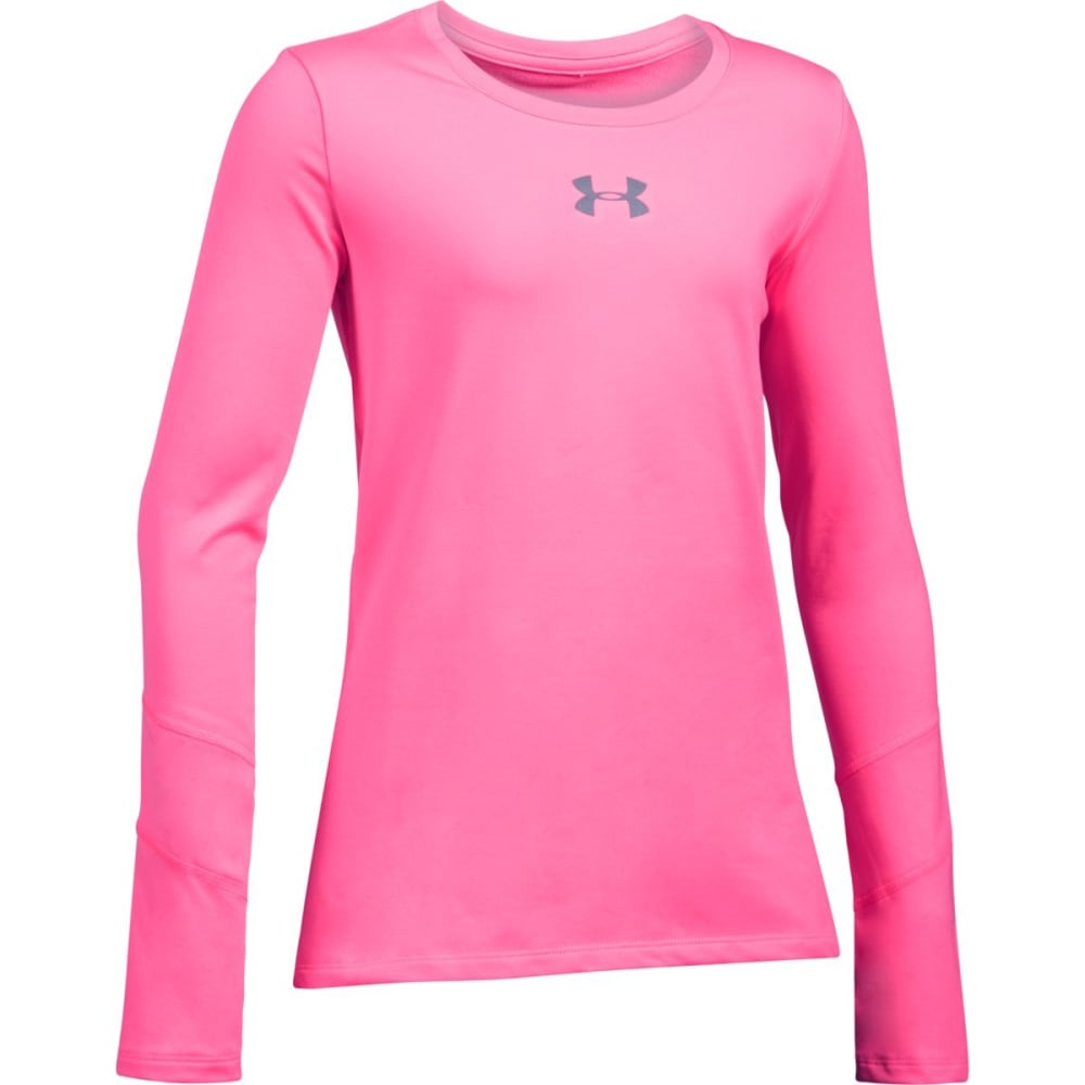 UNDER ARMOUR Girls' ColdGear Long-Sleeve Crewneck Shirt - PINK PUNK 640