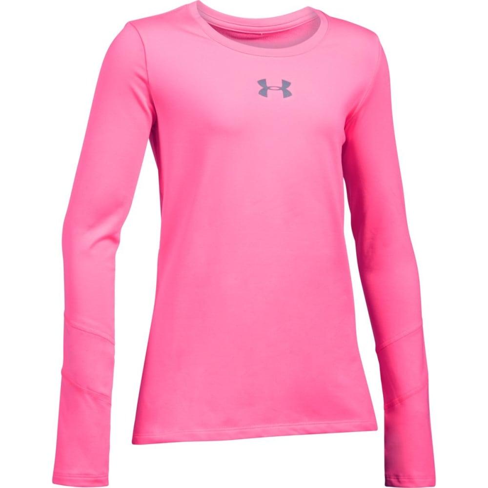 UNDER ARMOUR Girls' ColdGear Long-Sleeve Crewneck Shirt - PINK PUNK 640