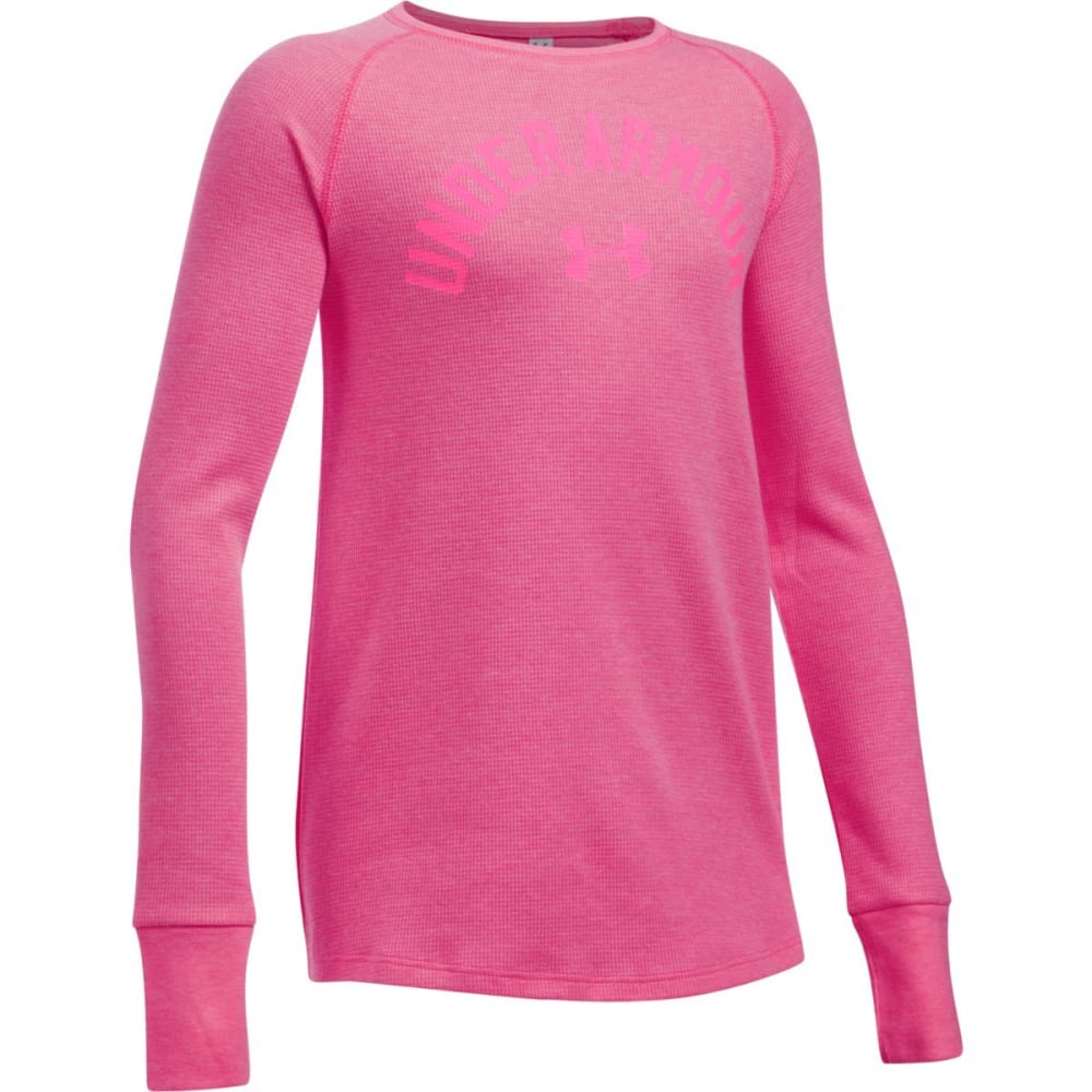 UNDER ARMOUR Girls' Long Sleeve Waffle Tee - SUPER PINK 672