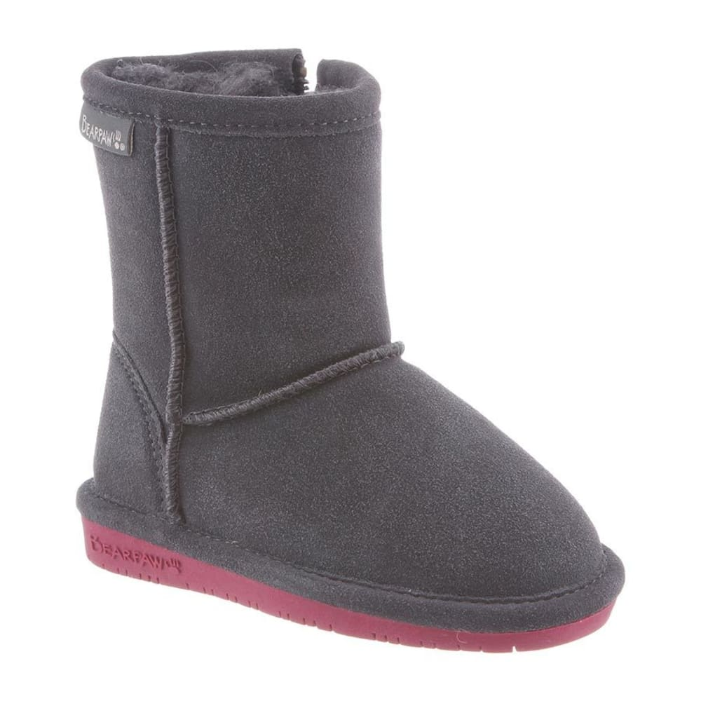 BEARPAW Toddler Girls' Emma Zipper Boots - CHARCOAL