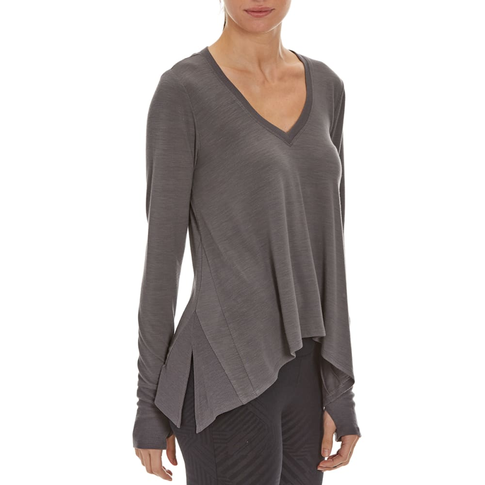 MARIKA Women's Terra Long-Sleeve Trapeze Tee - HTHR NINE IRON 401