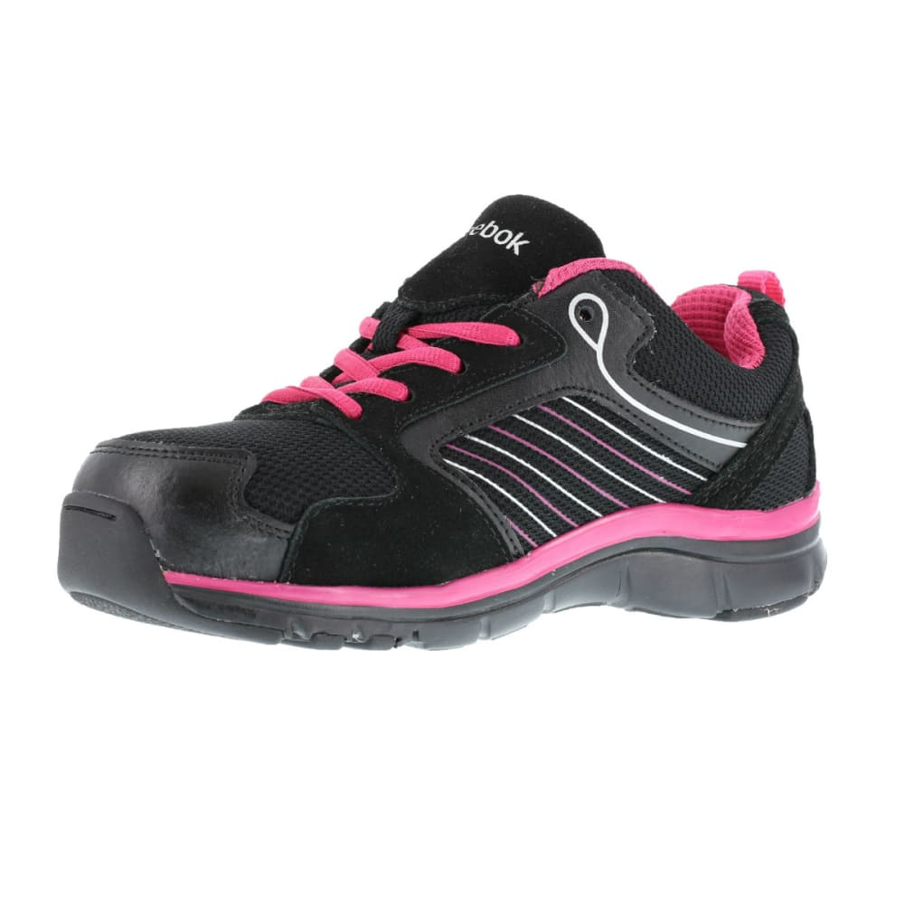REEBOK WORK Women's Anomar Shoes, Wide - BLACK/ PINK W/SLV T