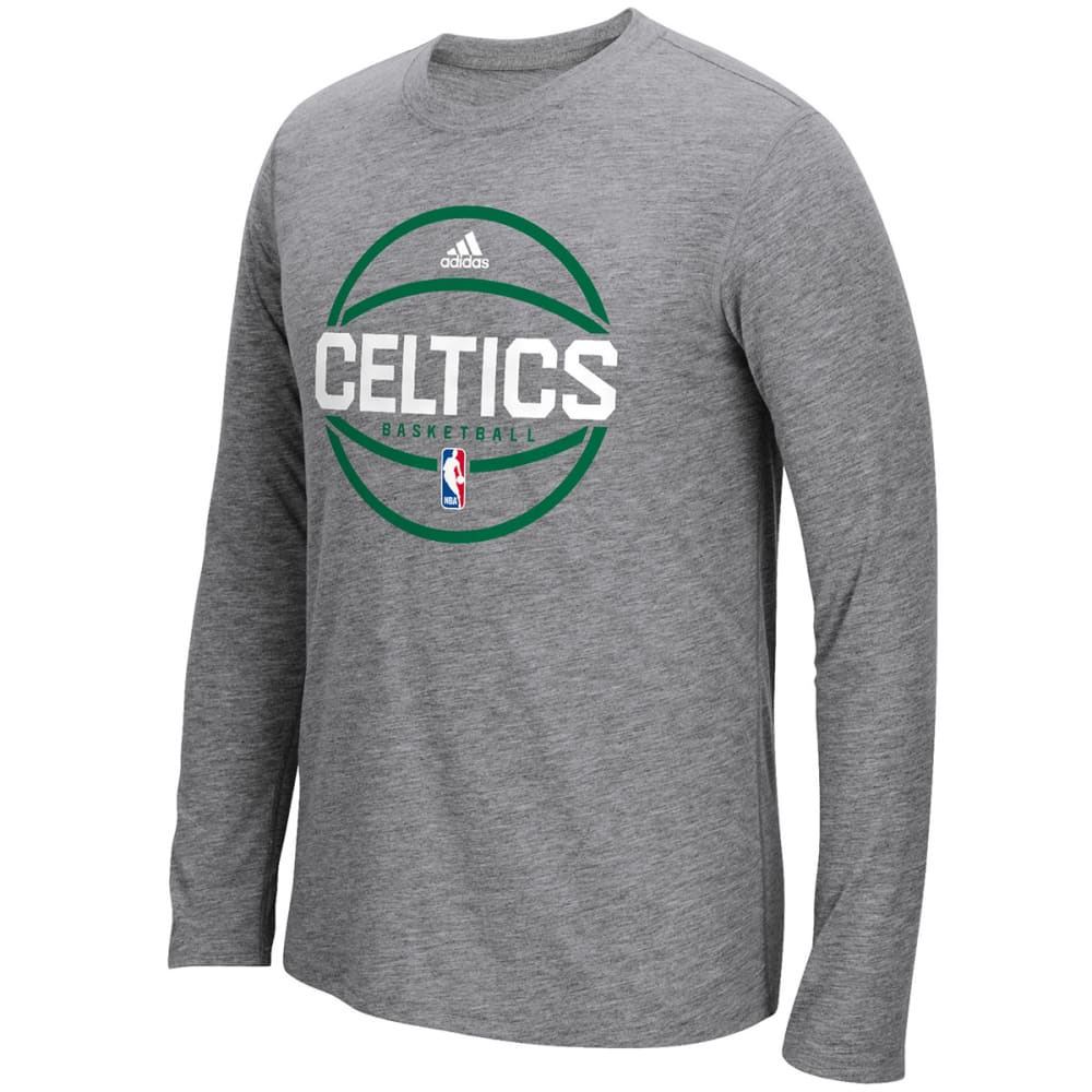 ADIDAS Men's Boston Celtics Pre-Game Long-Sleeve Shirt - CHARCOAL