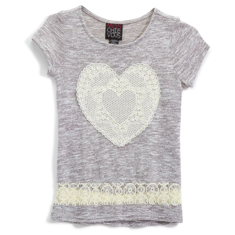 MISS CHIEVOUS Girls' Hacci Crochet Heart Tunic - BEACH FOG