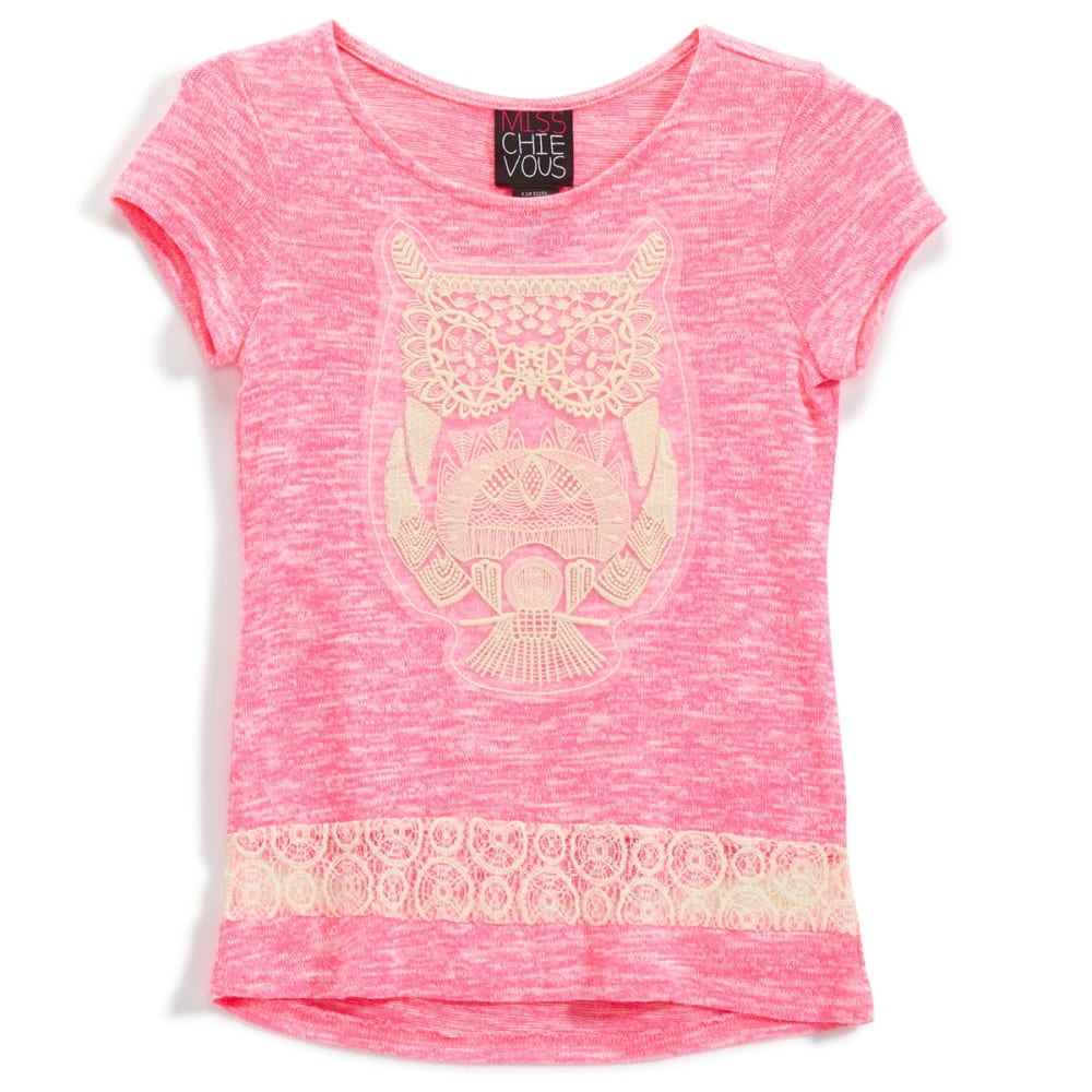 MISS CHIEVOUS Girls' Hacci Crochet Owl Tunic - NEON BUBBLEGUM