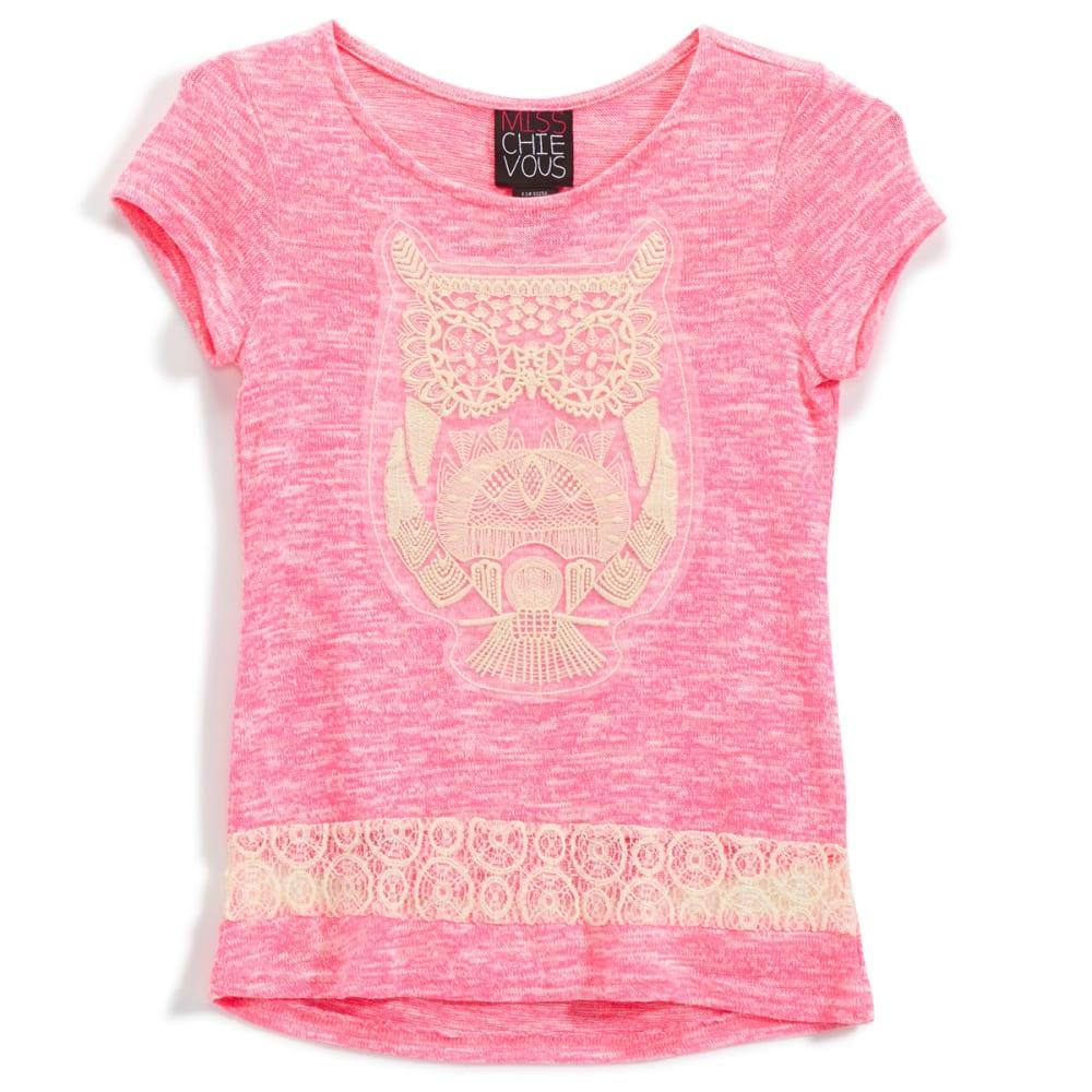 MISS CHIEVOUS Girls' Hacci Crochet Owl Tunic - NEON BUBBLEGUM