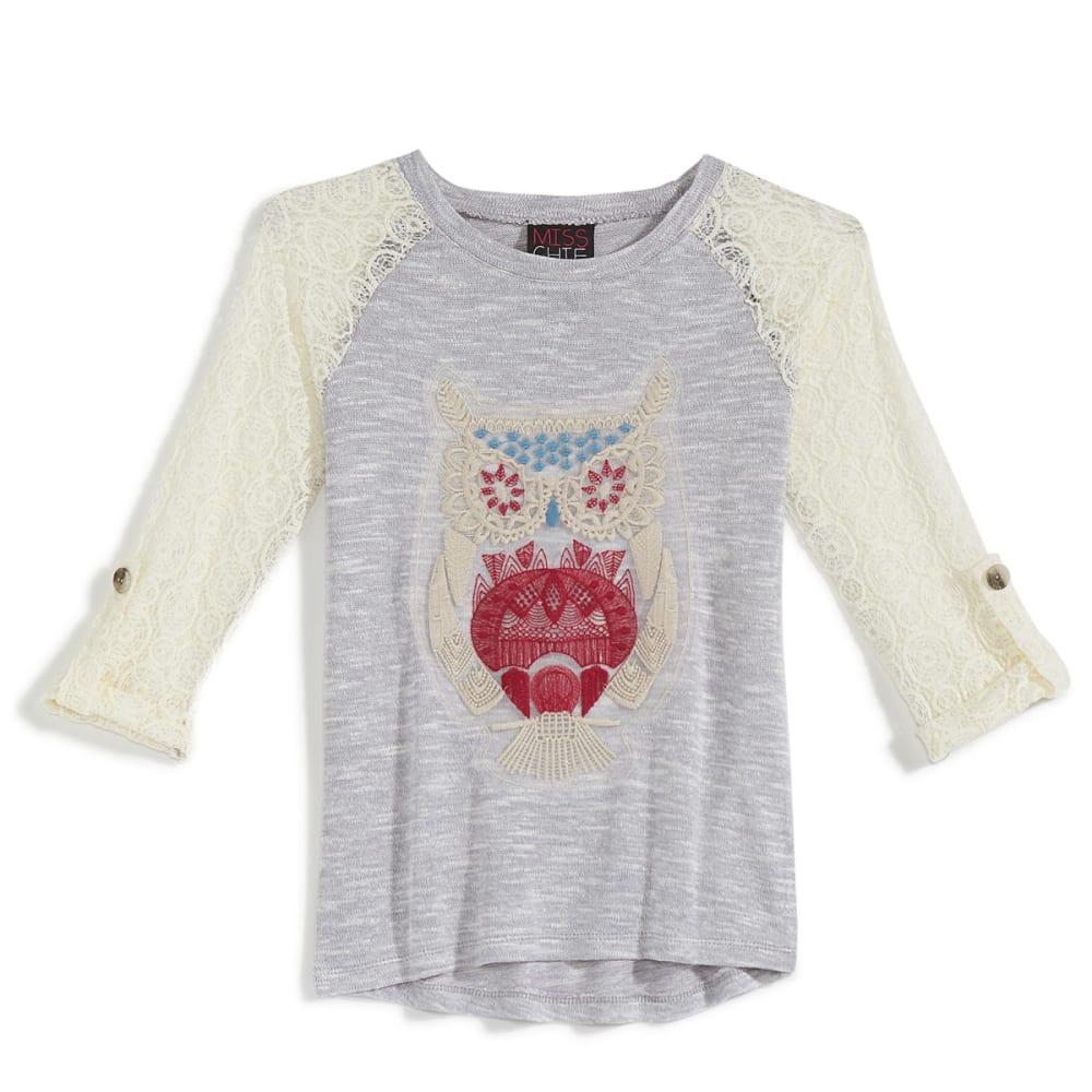 MISS CHIEVOUS Girls' Owl Crochet Tunic Top - BEACH FOG