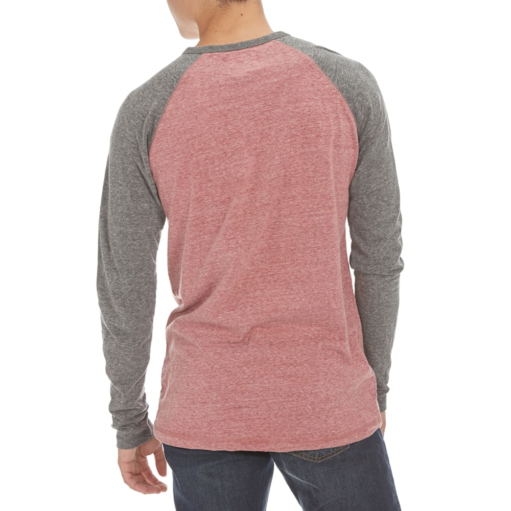 MASSIVE Guys' Henley Long-Sleeve Baseball Shirt - BURGUNDY/BLACK