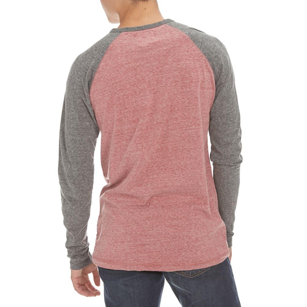 MASSIVE Guys' Henley Long-Sleeve Baseball Shirt - BURGUNDY/BLACK