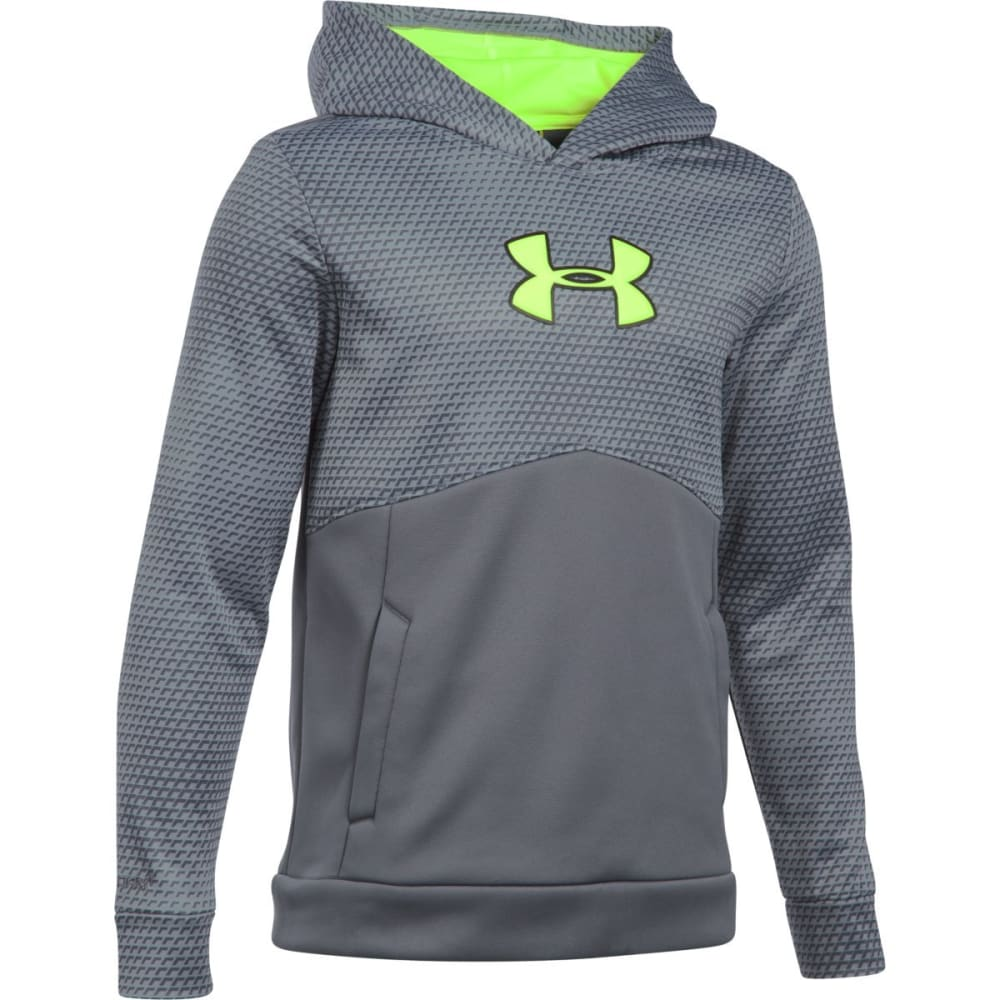 UNDER ARMOUR Boys' Storm Armour Fleece Mid Logo Hoodie - GRAPHITE/GRN 040