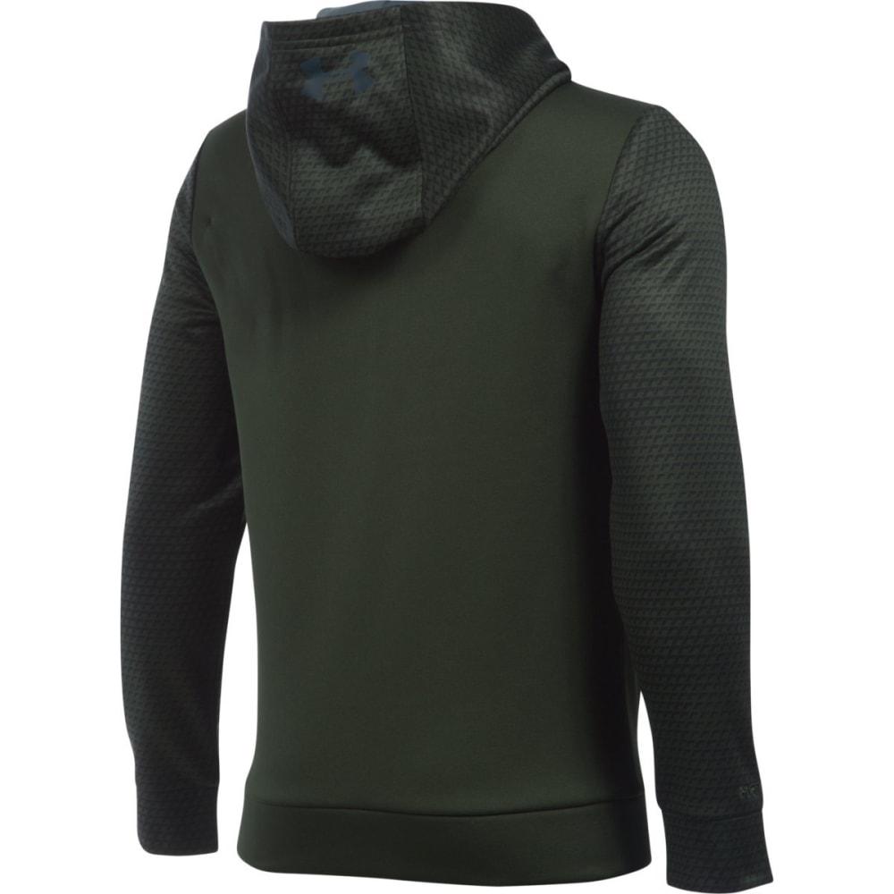 UNDER ARMOUR Boys' Storm Armour Fleece Mid Logo Hoodie - ARTILLRY GRN/GRY 357