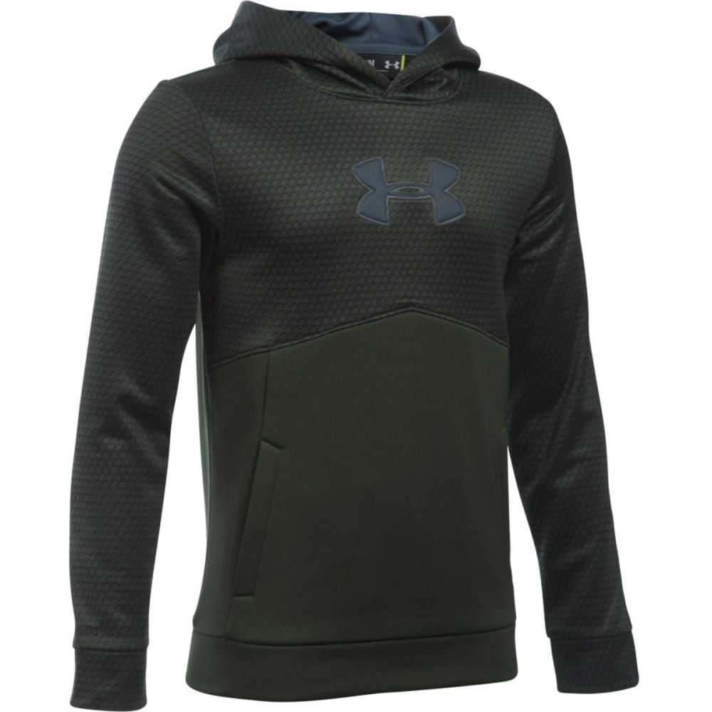 UNDER ARMOUR Boys' Storm Armour Fleece Mid Logo Hoodie - ARTILLRY GRN/GRY 357
