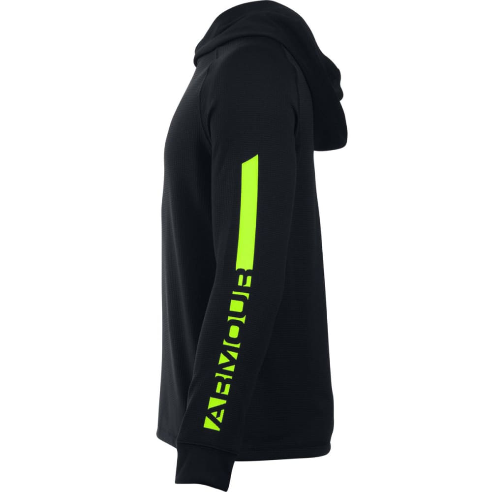 UNDER ARMOUR Boys' Waffle Hoodie - BLACK/FUEL GRN 001