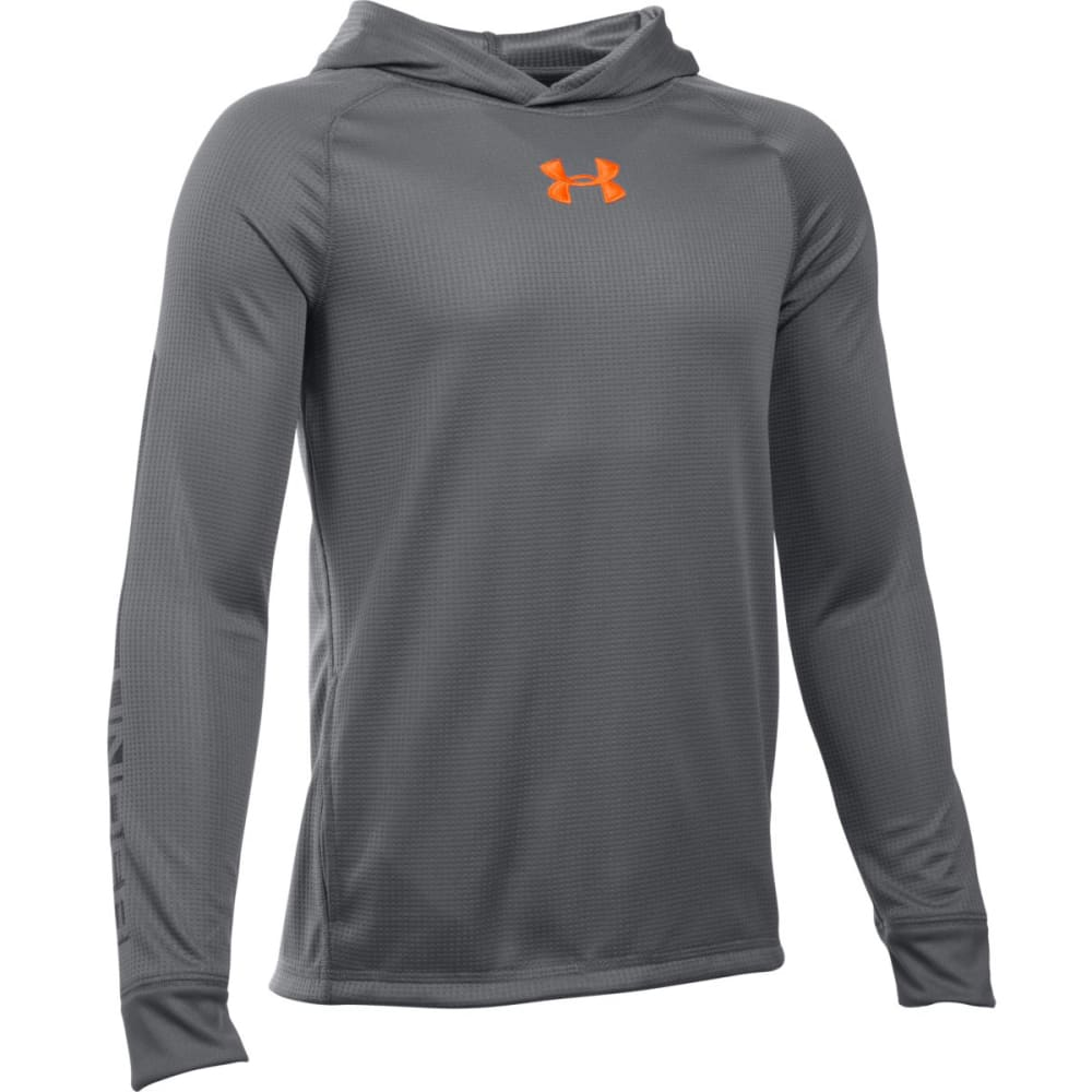 UNDER ARMOUR Boys' Waffle Hoodie - OVERCAST GRY/WHT 040
