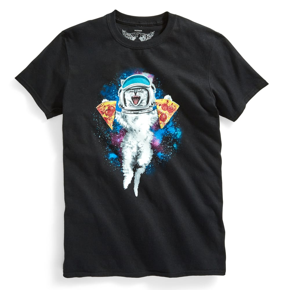 D55 Guys' Pizza Astrocat Tee - BLACK