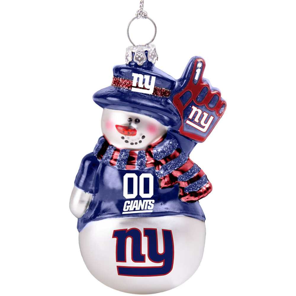 NEW YORK GIANTS Blown Glass Snowman Ornament - WHITE