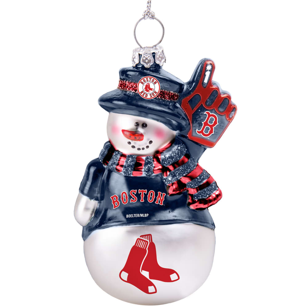 BOSTON RED SOX Blown Glass Snowman Ornament - WHITE