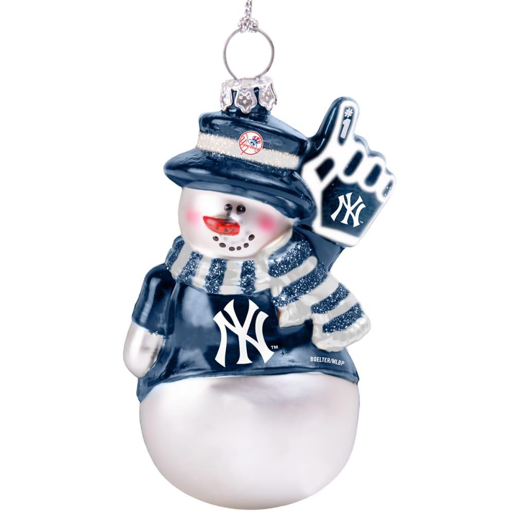 NEW YORK YANKEES Blown Glass Snowman Ornament - WHITE