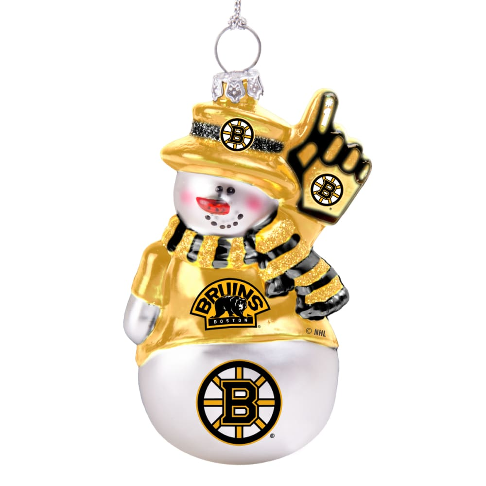 BOSTON BRUINS Blown Glass Snowman Ornament - WHITE