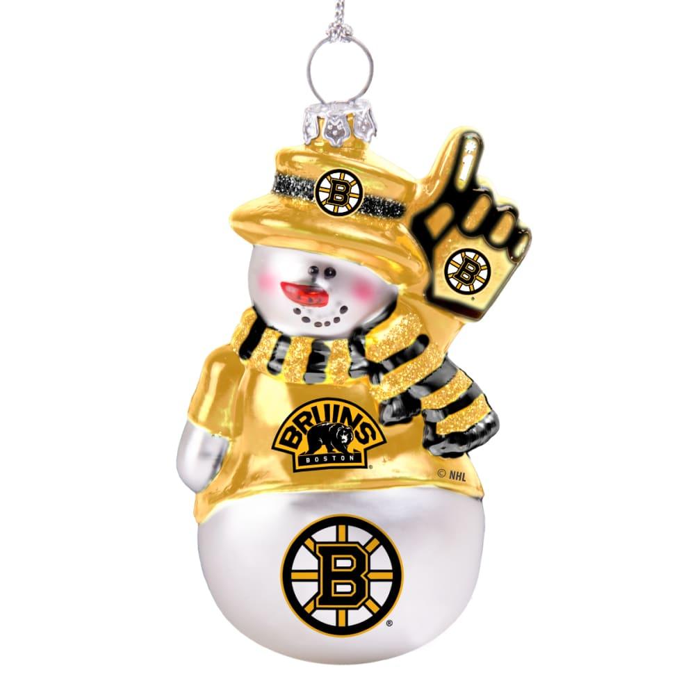 BOSTON BRUINS Blown Glass Snowman Ornament - WHITE