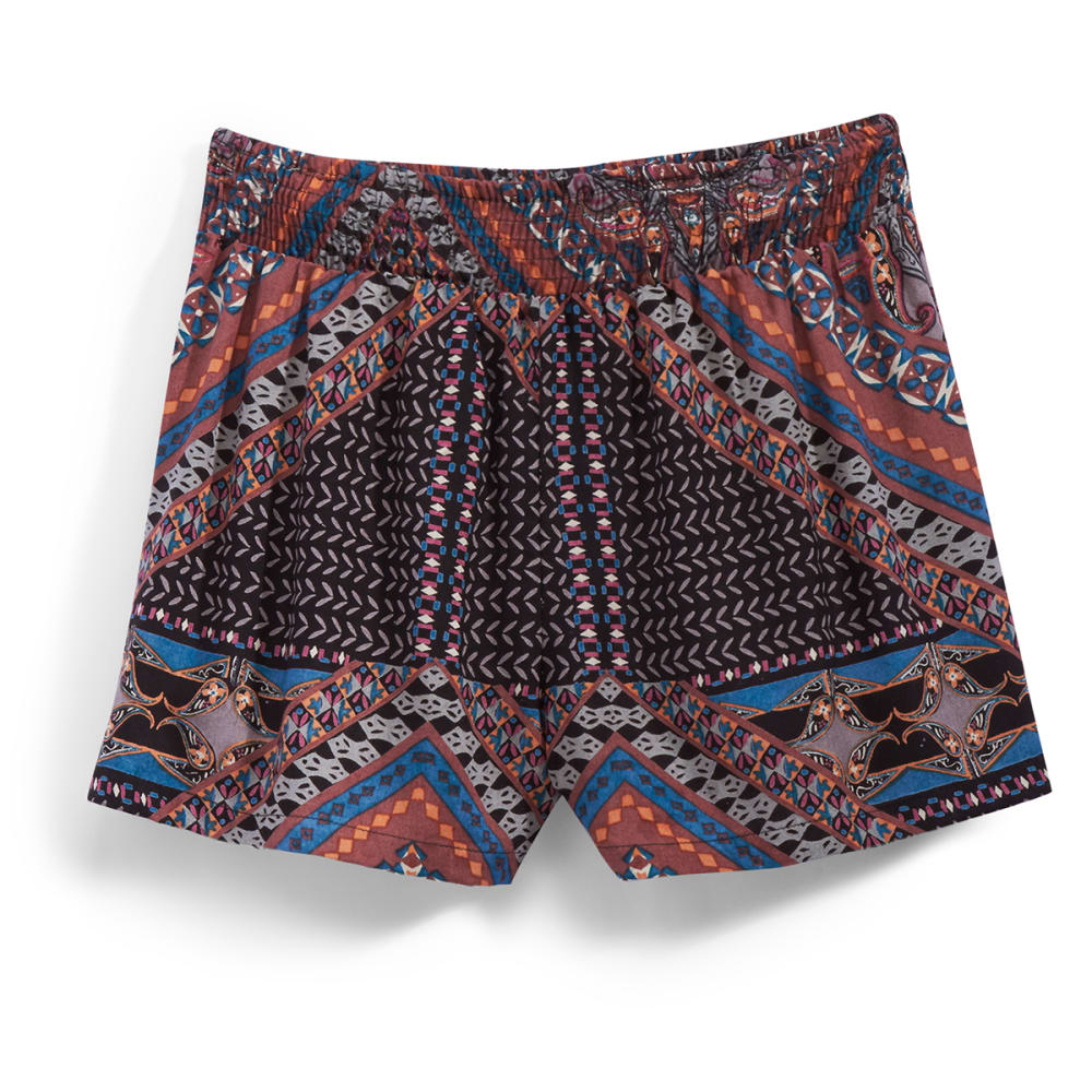 ANGIE Juniors' Printed Shorts - FL31 BLK/TAUPE