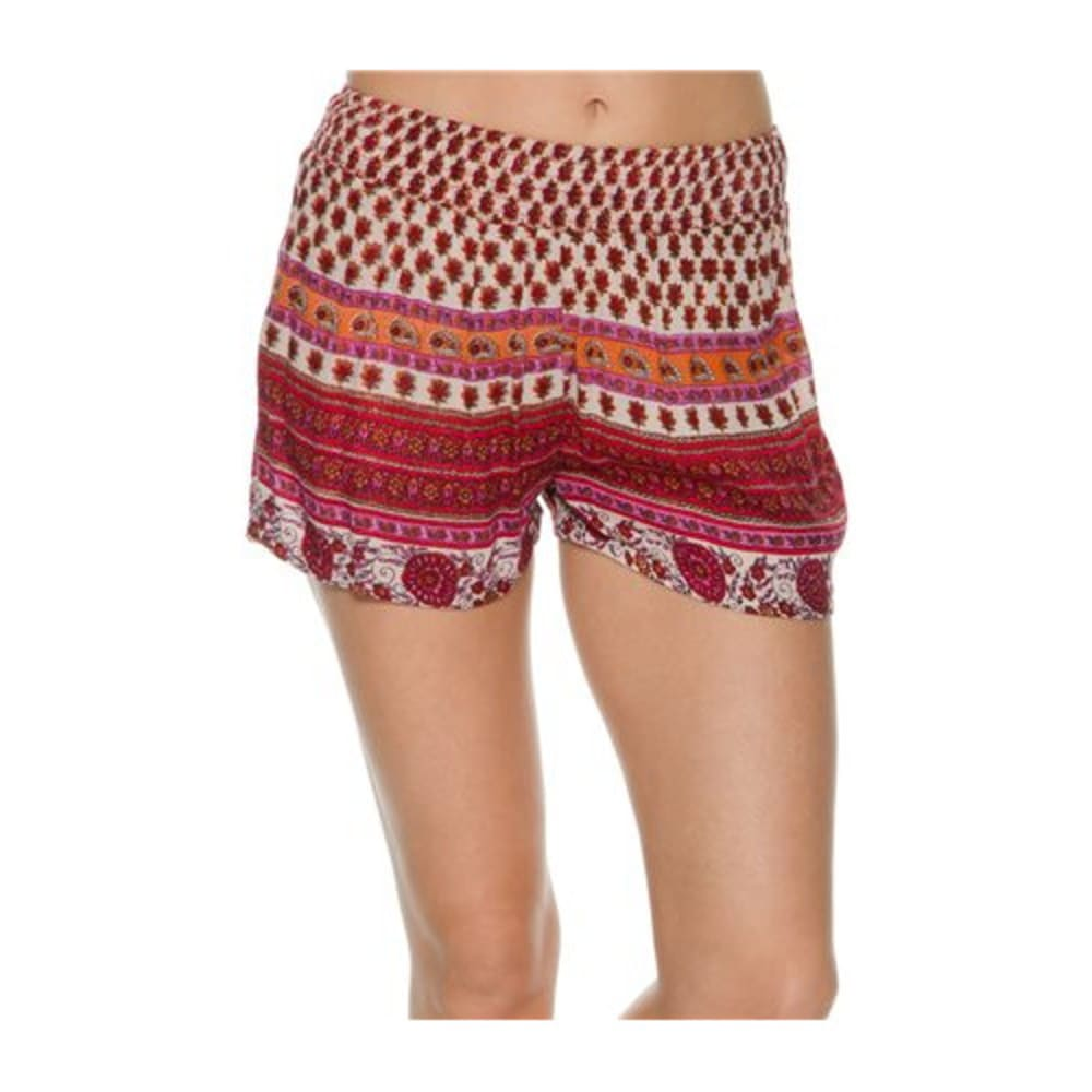 ANGIE Juniors' Printed Shorts - FL43 SAND/ PINK