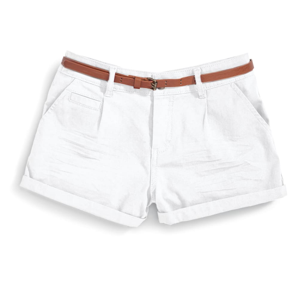 AMBIANCE Juniors' Belted Twill Shorts - WHITE