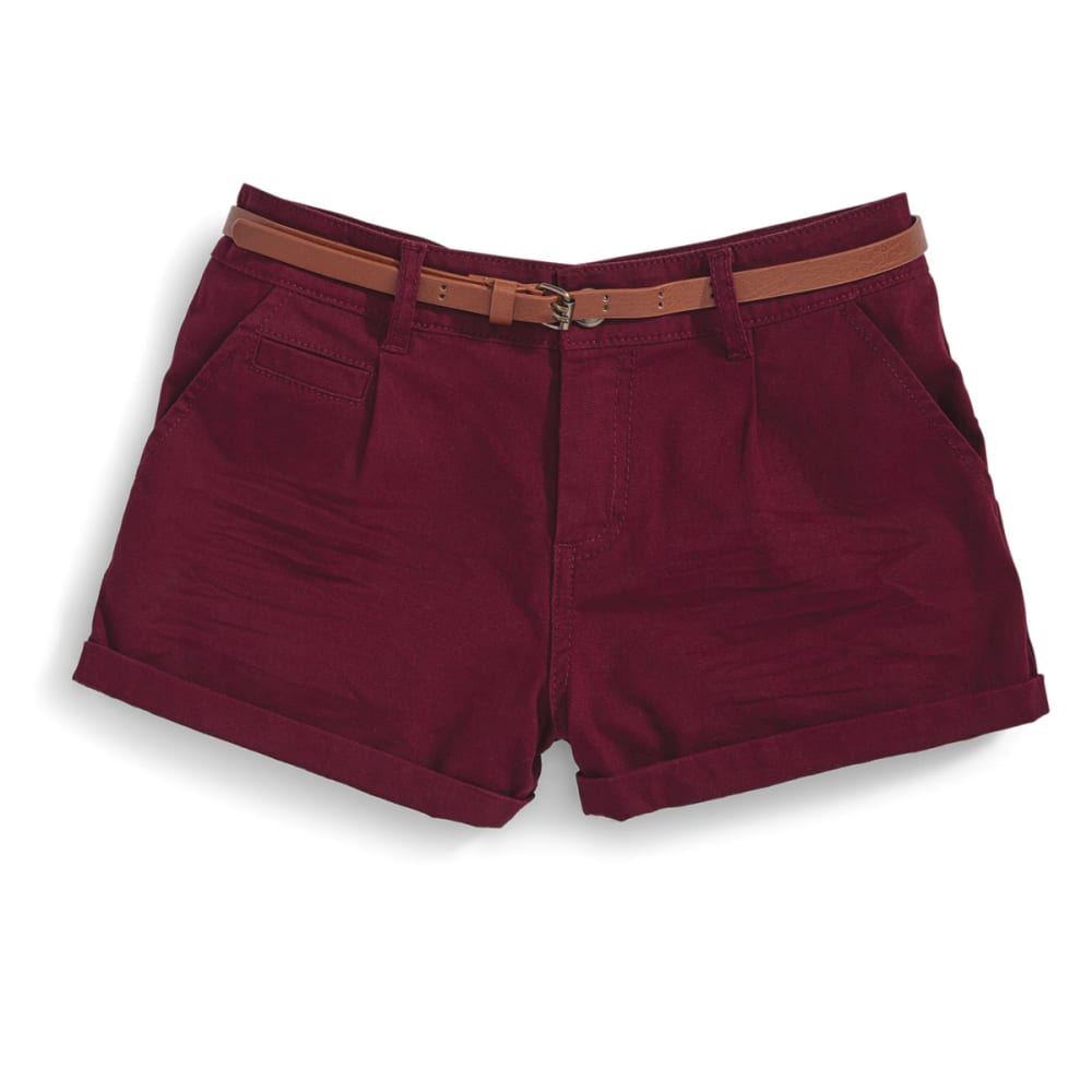 AMBIANCE Juniors' Belted Twill Shorts - BURGUNDY