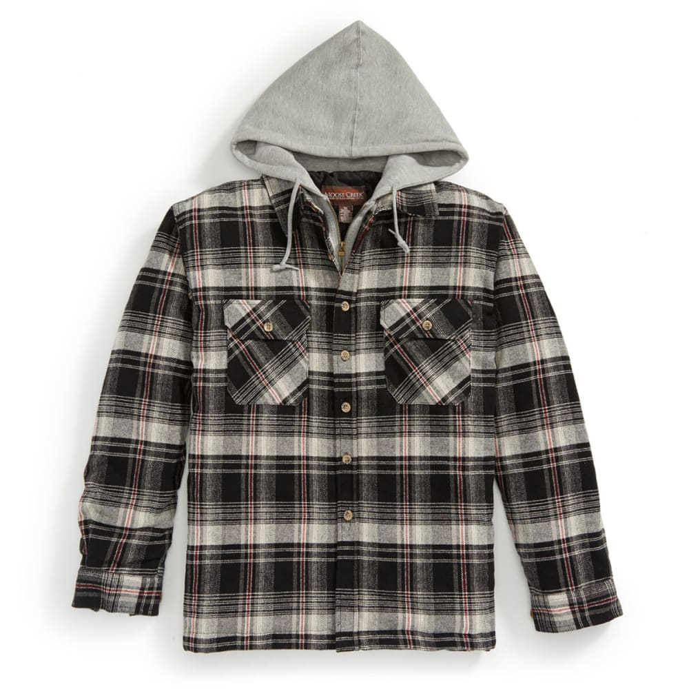MOOSE CREEK Men's Quilted Hooded Flannel Jacket - 106 BLK/CHAR