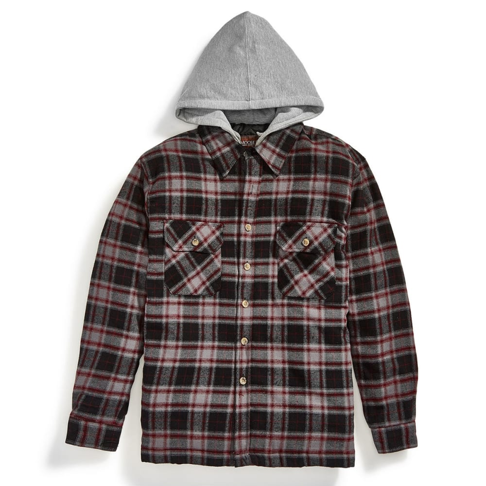 MOOSE CREEK Men's Quilted Hooded Flannel Jacket - 193 BURGUNDY