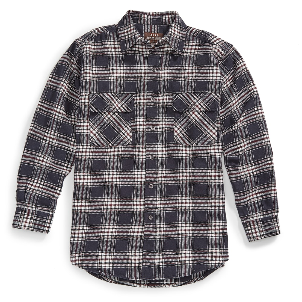 MOOSE CREEK Men's Brawny Flannel Plaid Long-Sleeve Shirt - 149 STEEL GREY