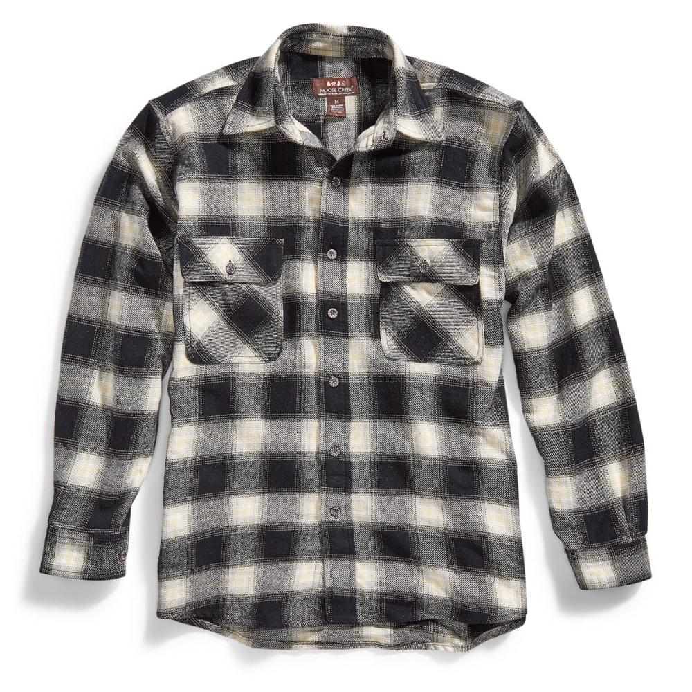MOOSE CREEK Men's Brawny Flannel Plaid Long-Sleeve Shirt - 78 ASH/CAMEL