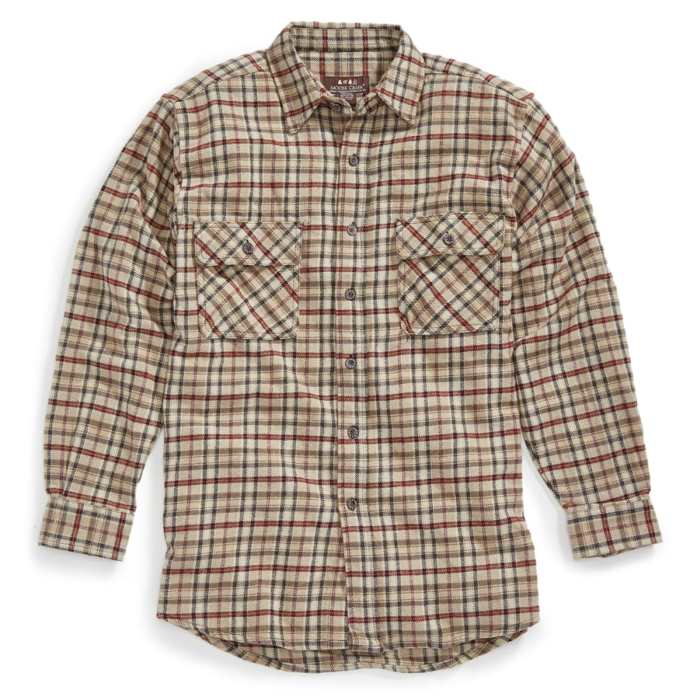 MOOSE CREEK Men's Brawny Flannel Plaid Long-Sleeve Shirt - 184 SAND