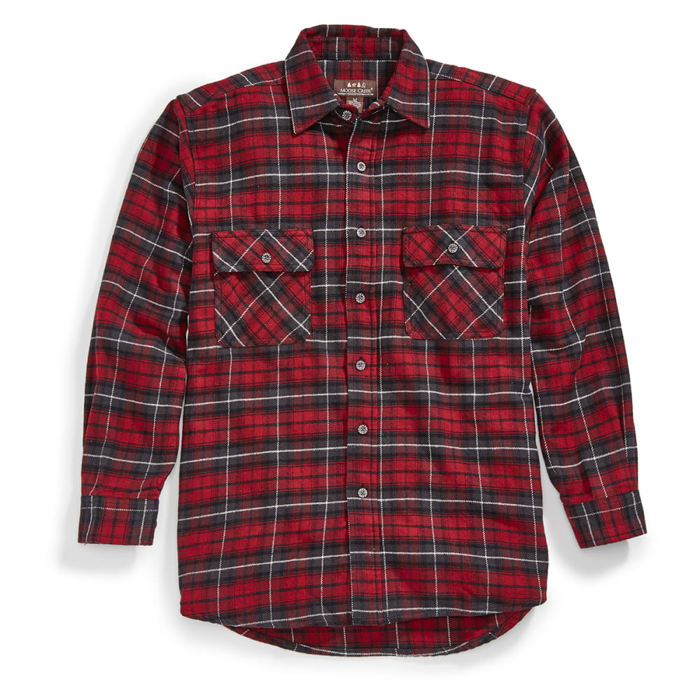 MOOSE CREEK Men's Brawny Flannel Plaid Long-Sleeve Shirt - 140 BRICK