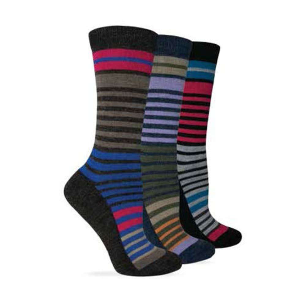 WISE BLEND Women's Half Cushion Foot Stripe Crew Socks, 3 Pack - BLK/DENIM/BROWN