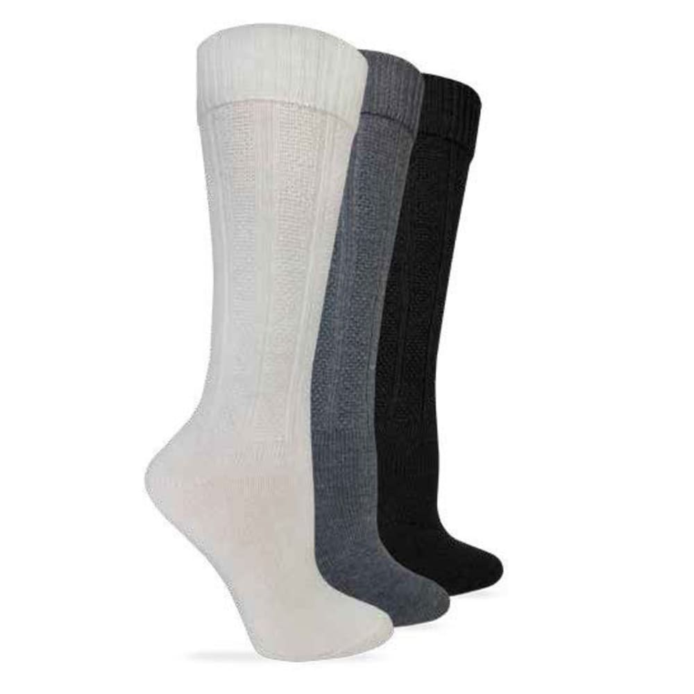WISE BLEND Women's Turncuff Knee-High Socks, 3 Pack - IVORY/CHAR/BLK