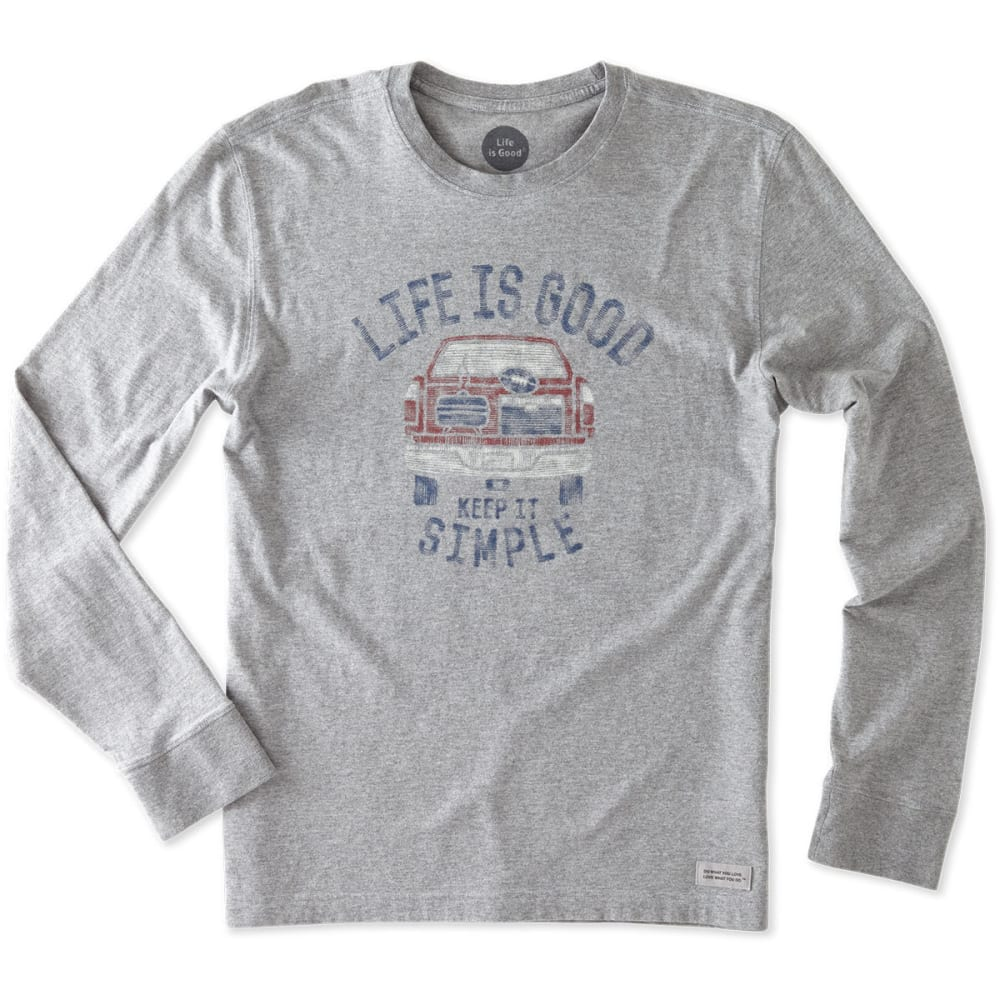 LIFE IS GOOD Men's Keep It Simple Tailgate Long-Sleeve Crusher Tee - HEATHER GRAY