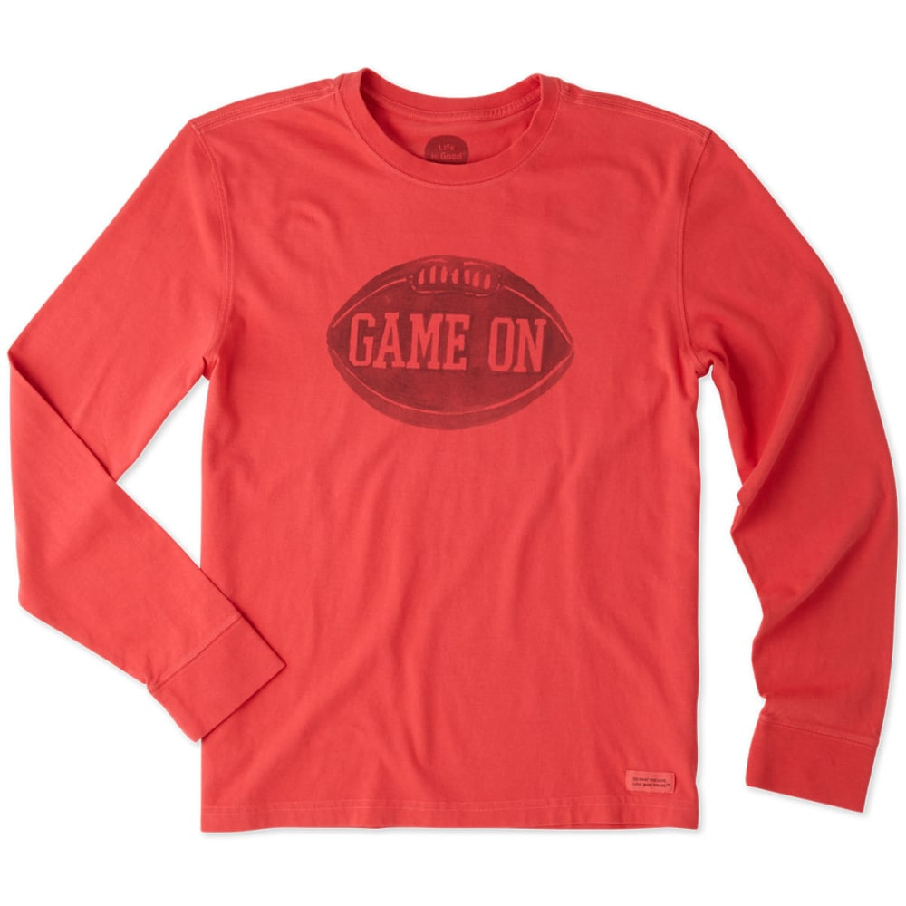 LIFE IS GOOD Men's Game On Football Long Sleeve Crusher Tee - SIMPLY RED