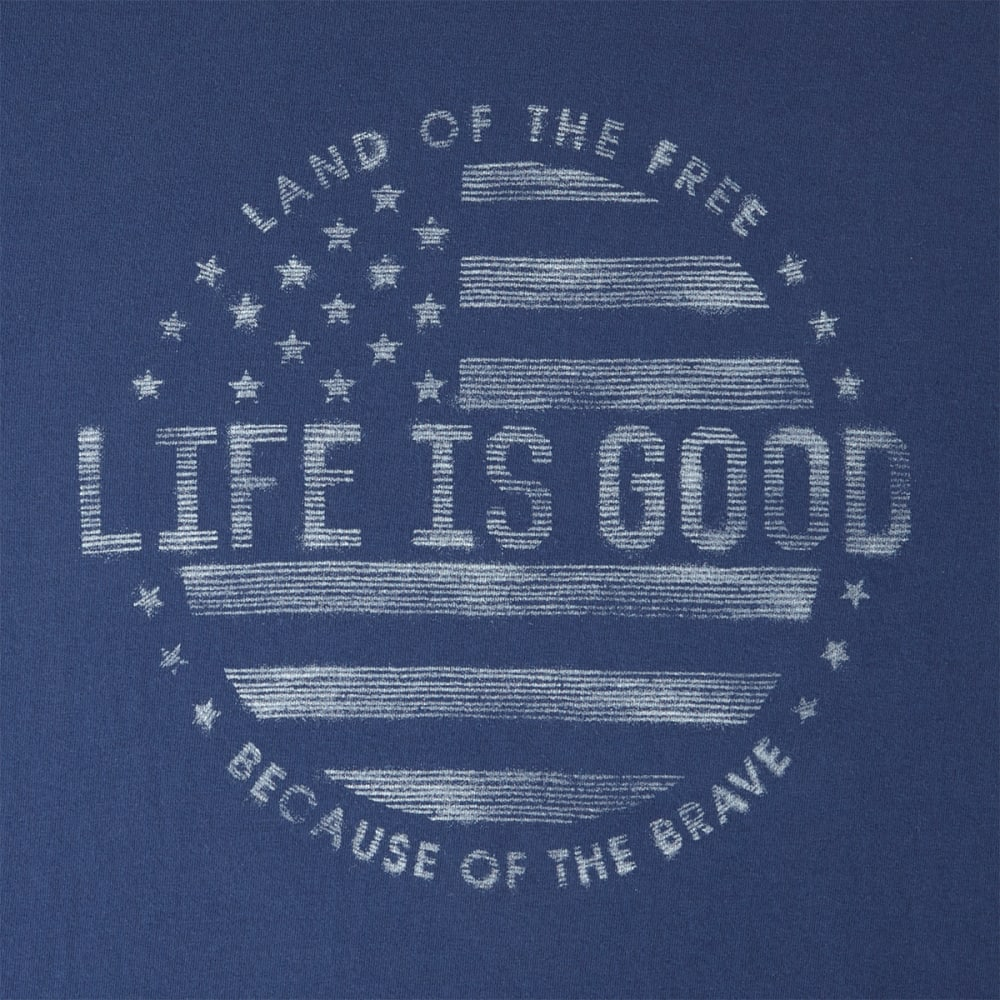 LIFE IS GOOD Men's Flag Long Sleeve Crusher Tee - DARKEST BLUE