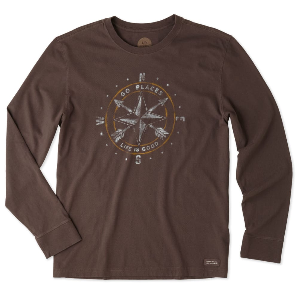 LIFE IS GOOD Men's Compass Long Sleeve Crusher Tee - DARKEST BROWN