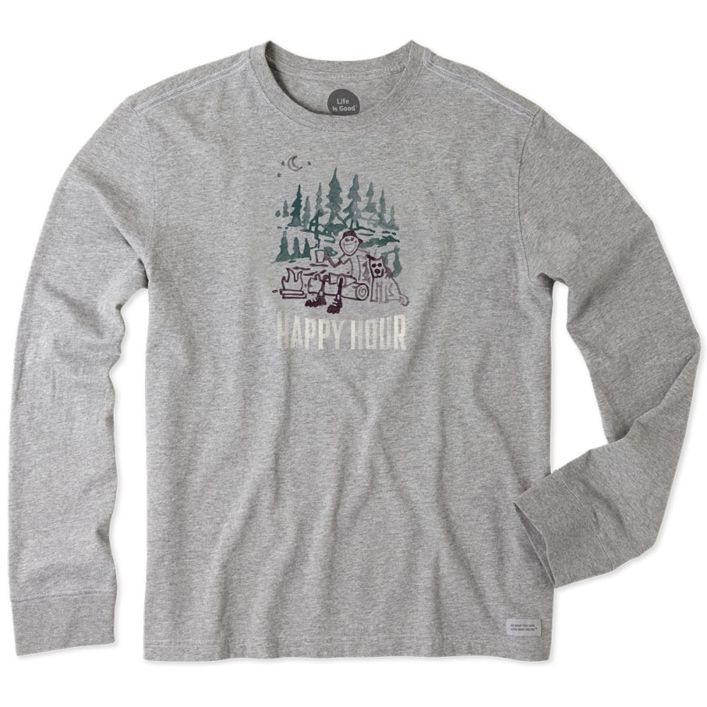 LIFE IS GOOD Men's Happy Hour Camp Watercolor Long-Sleeve Crusher Tee - HEATHER GRAY