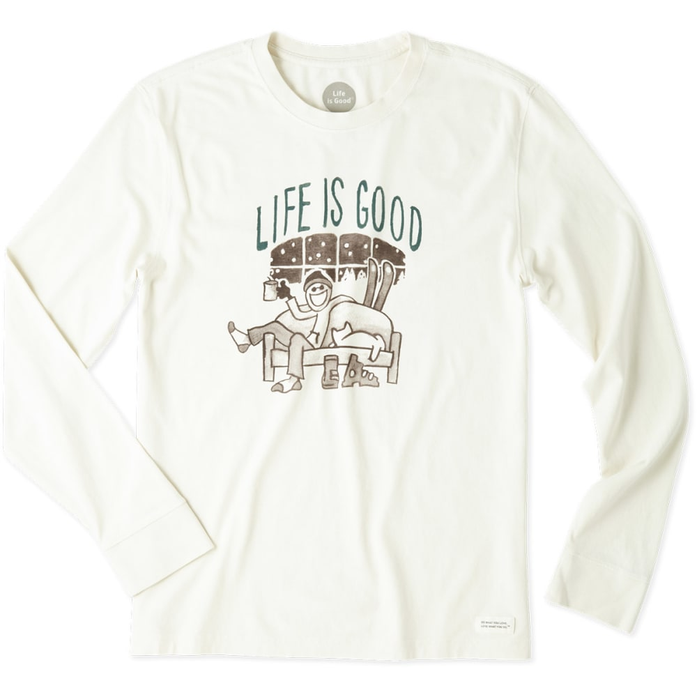LIFE IS GOOD Men's Apres Ski Painted Long-Sleeve Crusher Tee - SIMPLY IVORY